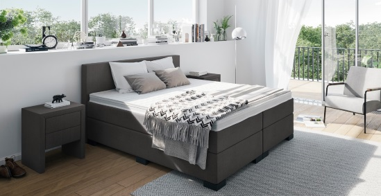 boxspringbett mit niedrigem kopfteil boxspring welt. Black Bedroom Furniture Sets. Home Design Ideas