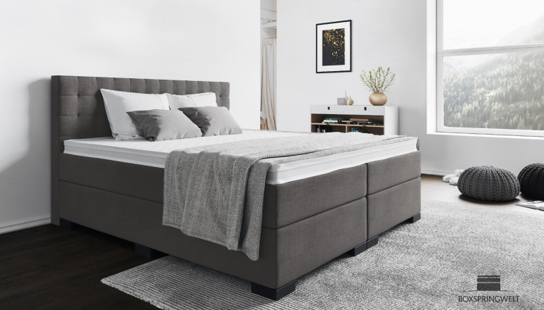 Boxspringbett Frieda 140 x 220 cm in Anthrazit-Grau