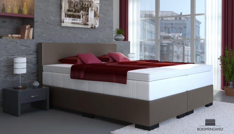 Kunstleder Boxspringbett Tony 140 x 200 cm in Anthrazit-Grau