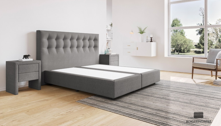 Boxspringbett Beatrix ohne Matratze 180 x 210 cm in Anthrazit-Grau