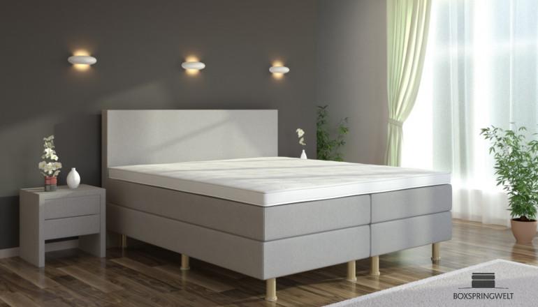 Boxspringbett Eva 100 x 220 cm in Grau-Silber