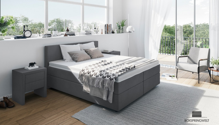 Boxspringbett William 140 x 200 cm in Golf Anthrazit