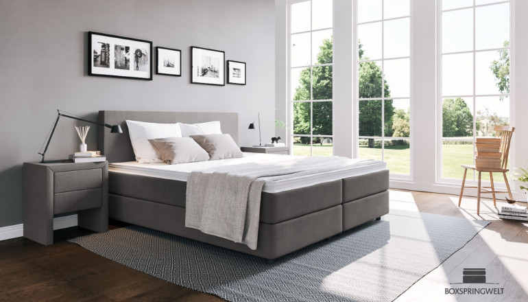 Boxspringbett Edmund 180 x 200 cm in Anthrazit Golf