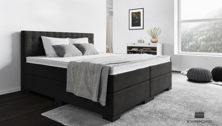 Boxspringbett Frieda 180 x 200 cm in Grau-Anthrazit