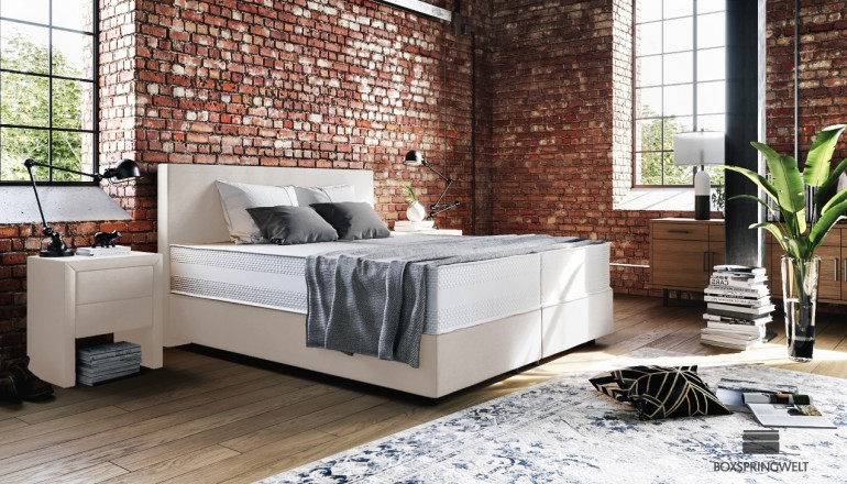 Boxspringbett Oskar 180 x 210 cm in Mine Cream