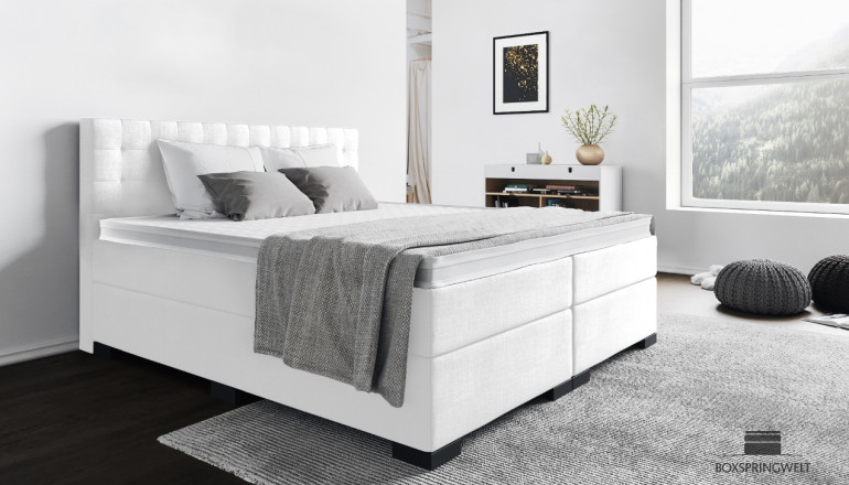Boxspringbett Frieda 180 x 200 cm in Weiss