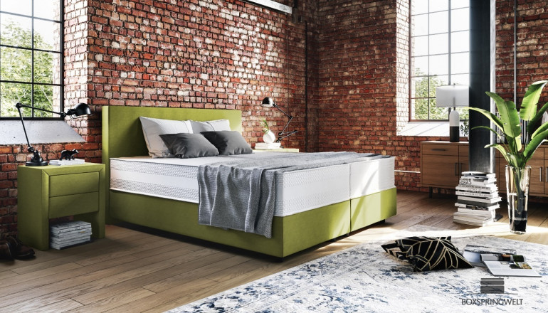 Boxspringbett Oskar 120 x 200 cm in Mine Lime
