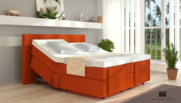 Boxspringbett Henry 140 x 220 cm mit Motor in Orange