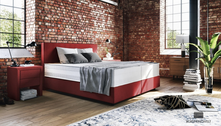 Boxspringbett Oskar 180 x 210 cm in Mine Burgundy