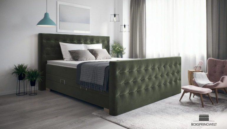 Boxspringbett Helene 160 x 210 cm cm in Adore Hunter