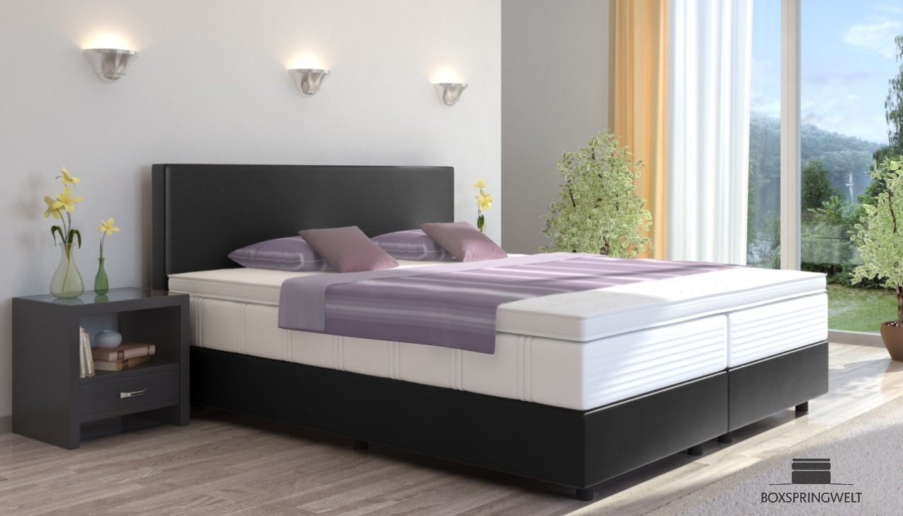 boxspringbett emil in kunstleder 120 x 210 cm. Black Bedroom Furniture Sets. Home Design Ideas