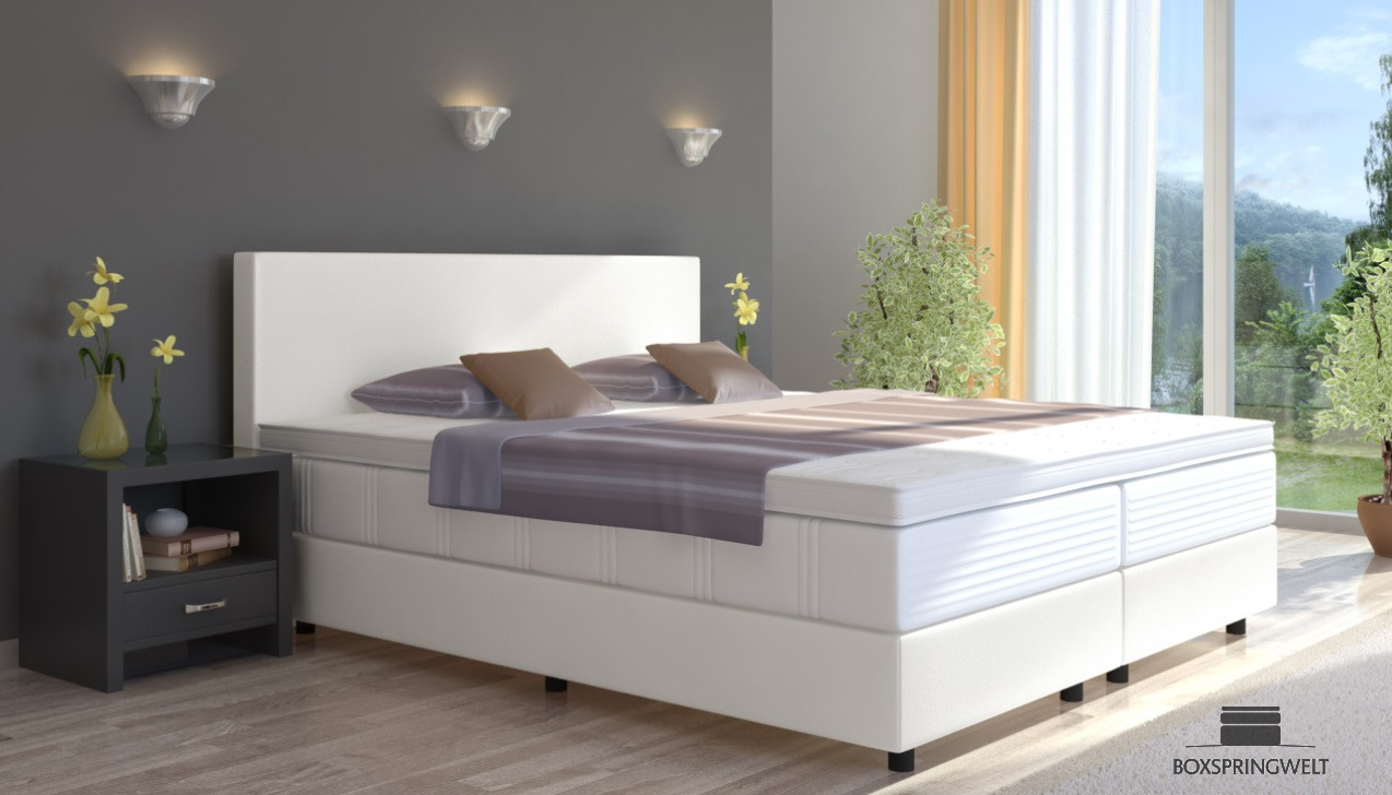 boxspringbett emil in kunstleder 140 x 200 cm. Black Bedroom Furniture Sets. Home Design Ideas