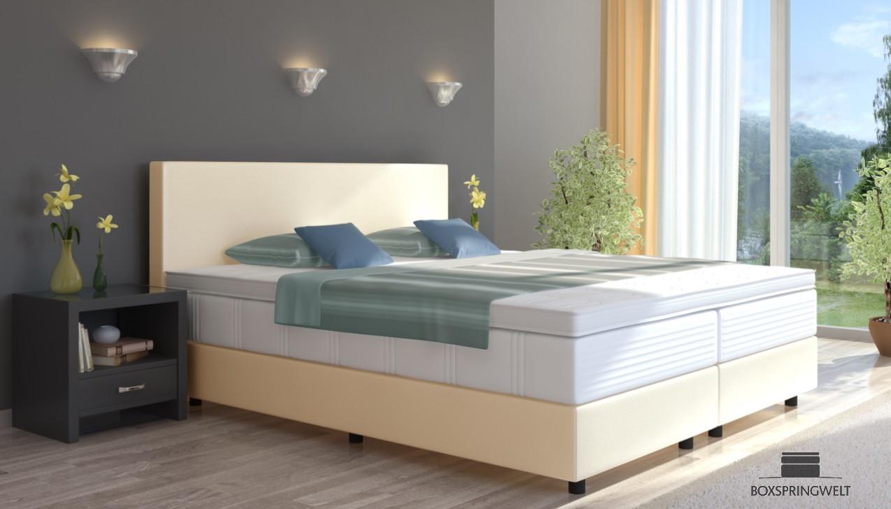 boxspringbett emil in kunstleder 120 x 220 cm. Black Bedroom Furniture Sets. Home Design Ideas