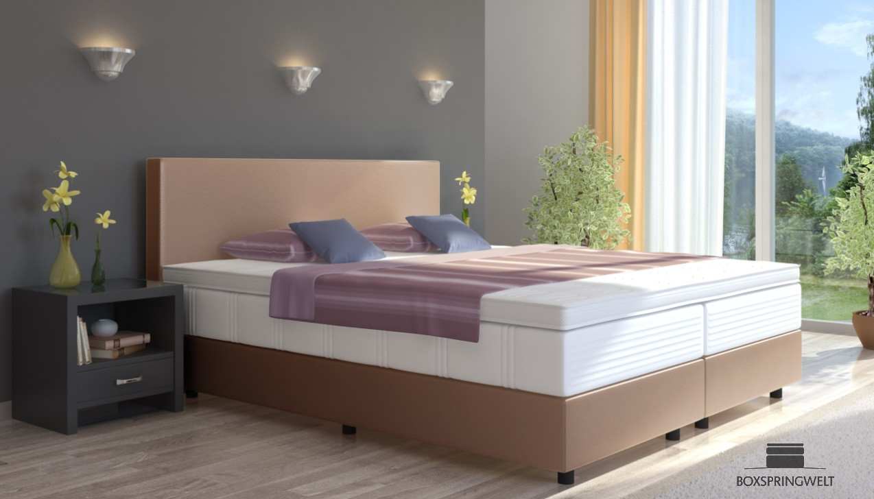 boxspringbett emil in kunstleder 90 x 200 cm. Black Bedroom Furniture Sets. Home Design Ideas