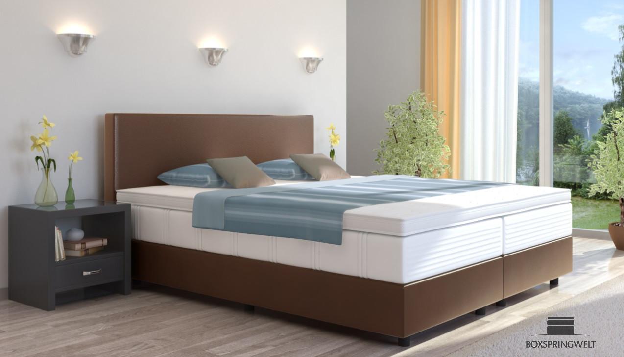 boxspringbett emil in kunstleder 160 x 200 cm. Black Bedroom Furniture Sets. Home Design Ideas