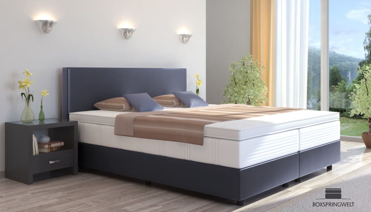 boxspringbett emil in kunstleder 100 x 200 cm. Black Bedroom Furniture Sets. Home Design Ideas