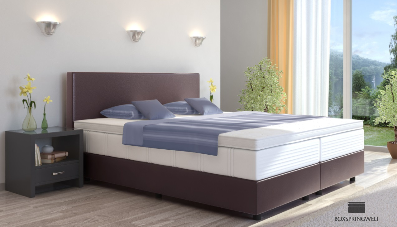 boxspringbett emil in kunstleder 120 x 220 cm. Black Bedroom Furniture Sets. Home Design Ideas