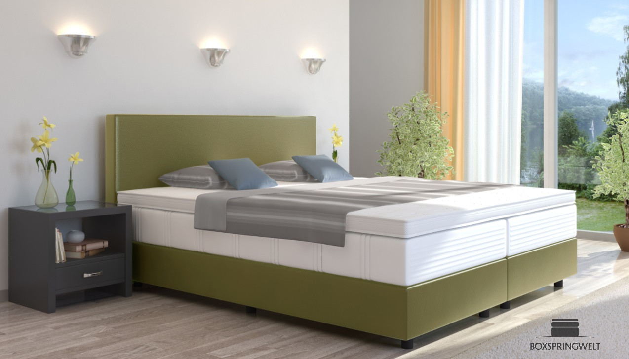 boxspringbett emil in kunstleder 160 x 220 cm. Black Bedroom Furniture Sets. Home Design Ideas