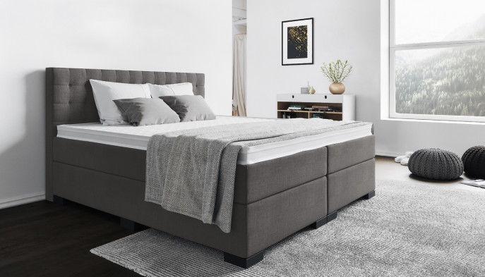 Boxspringbett Frieda 140 x 210 cm in Anthrazit-Grau