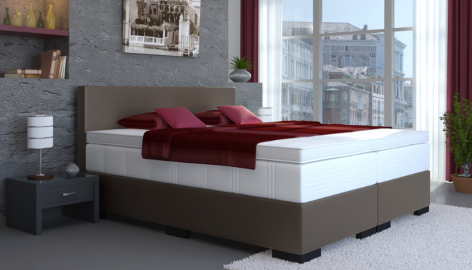Kunstleder Boxspringbett Tony 180 x 200 cm in Anthrazit-Grau