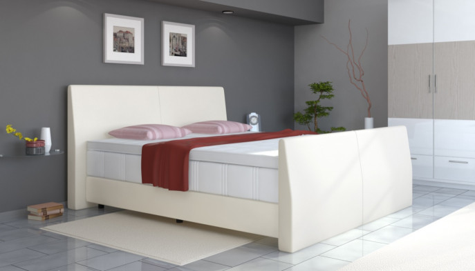 boxspringbett 200x220 cm in wei boxspring welt. Black Bedroom Furniture Sets. Home Design Ideas
