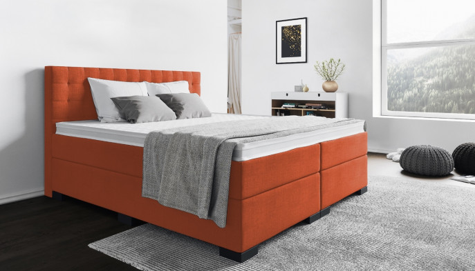 Boxspringbett Frieda 180 x 200 cm in Orange