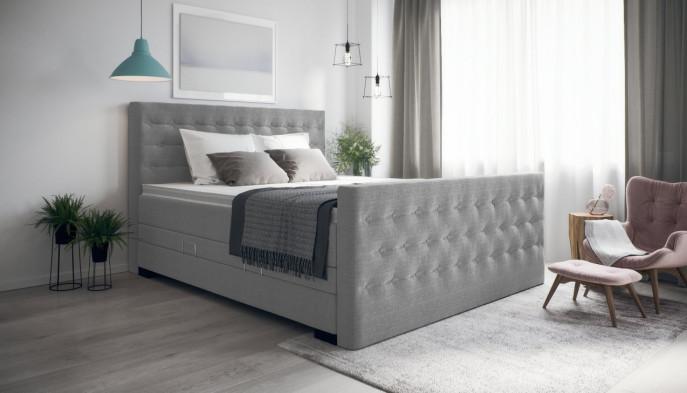 Boxspringbett Helene 100 x 210 cm cm in Board Grau