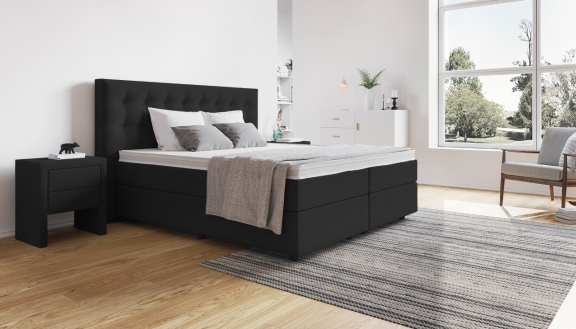 schwarze boxspringbetten die sch nsten betten in schwarz. Black Bedroom Furniture Sets. Home Design Ideas