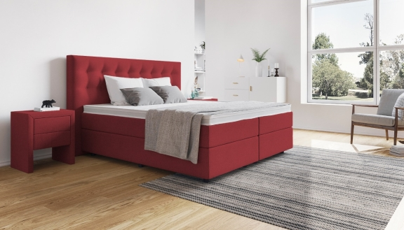 rotes boxspringbett die sch nsten betten in rot. Black Bedroom Furniture Sets. Home Design Ideas