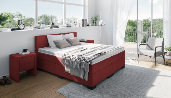Rotes Boxspringbett: William