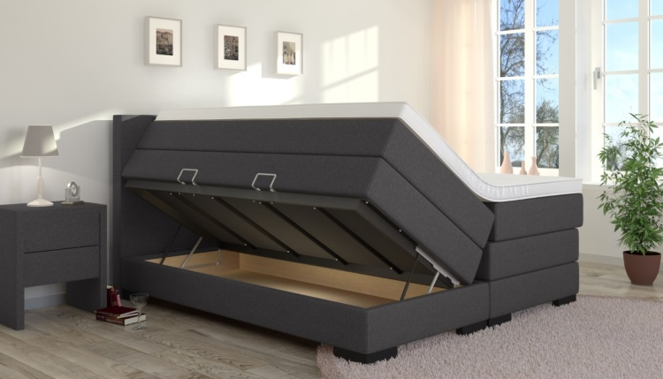 boxspringbett mit stauraum. Black Bedroom Furniture Sets. Home Design Ideas